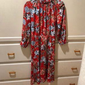 H&M orange floral mock collar neck dress